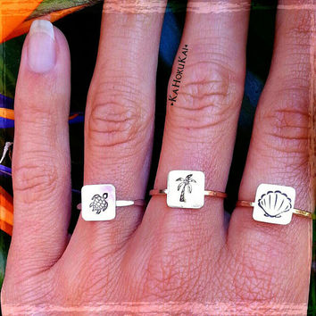Stamped Rings, Sea Turtle Ring, Palm Tree Ring, Mermaid Shell Ring, Honu Ring