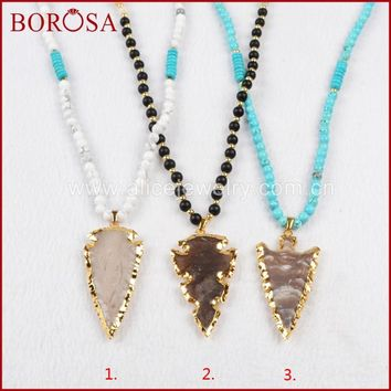 BOROSA Gold Color Natural Arrowhead Natural Stone Necklace with 5&6mm Multikind of Stones Beads For Women G794