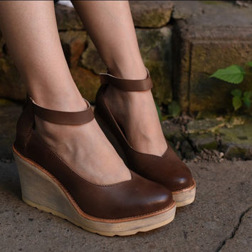 2017 new arrival vintage genuine leather women shoes wedges cowhide shallow mouth shoes platform shoes pumps free shipping 598-1