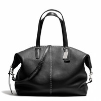 BLEECKER LARGE COOPER SATCHEL IN STITCHED PEBBLED LEATHER