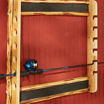 Fishing Rod Wall Mounted Rack Handcrafted Pine Hang Horizontal or Vertical