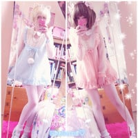 J-fashion Kawaii Dolls Dots Grenadine Floucing Knotbow Long Top Free Shipping SP140550