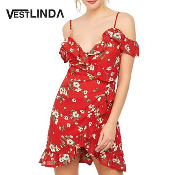 VESTLINDA Floral Print Mini Wrap Dress Red Spaghetti Strap V Neck Party Dresses Ruffles Asymmetrical Mini Vestidos Summer Dress