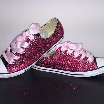 """Dainty All Star Converse """"Pretty In pink"""" With Fuchsia Pink Crystals & Baby Pink Laces"""