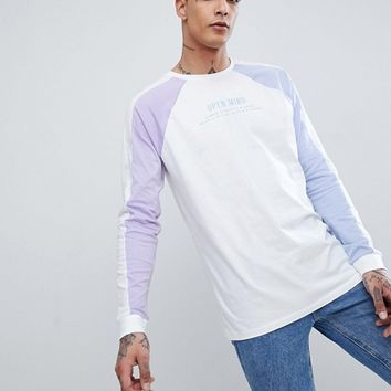 ASOS DESIGN longline t-shirt with colour block sleeves & embroidery at asos.com