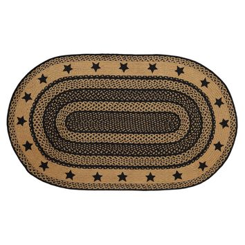 Farmhouse Jute - Stencil Stars - Braided Oval - Country Black & Tan - 36 x 60 - Rug