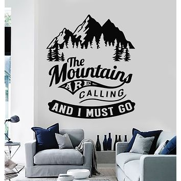 Vinyl Wall Decal Mountains Camping Phrase Quote Nature Adventure Stickers Mural (g2708)