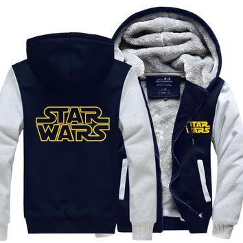 Hoodie Darth Vader Jedi knight Winter Thicken Hooded Zipper Mens Sweatshirts Hot Sale USA EU size Plus size