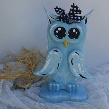 Owl Decoration, Blue Wooden Owl, Baby Blue Owl,  Blue Nursery Owl, Owl Home Decor, Hand crafted & Painted Blue Owl