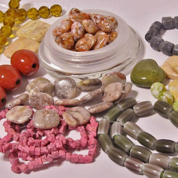 Huge Destash Lot 1 - Jewelry Supplies - Beads, Ceramic, Marble, Mother of Pearl, Glass, Agate