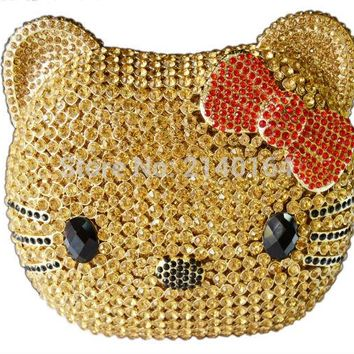 Cat Face Evening Bag women hollow out bag animal crystal Clutch bag diamond Kitty Party Purse bag 88001
