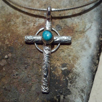 Authentic Navajo,Native American,Southwestern,old western vintage style sterling silver turquoise crucifix cross pendant.