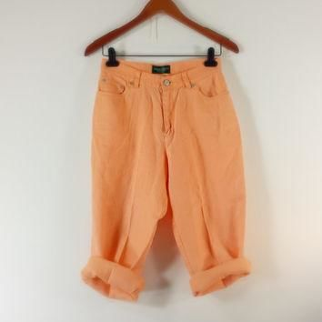 Vintage RALPH LAUREN Peach Linen Capris - High Waisted Pants - SIZE 3 / 4