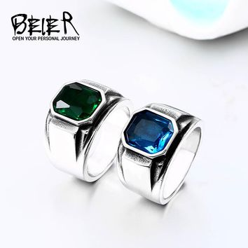 BEIER 2018 Vintage Engagement Imitation Square green/blue Stone Fingel Ring For Women/Men Stainless steel Love Jewelry BR8-586