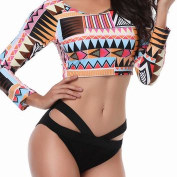 Plus Size Long-sleeved Criss-Cross Printed Tankini