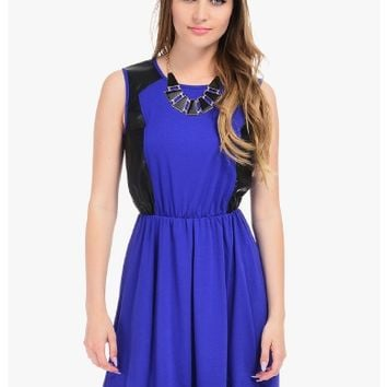 Blue Rocker Chic Sleeveless Party Dress | $10.00 | Cheap Trendy Casual Dresses Chic Discount Fashion