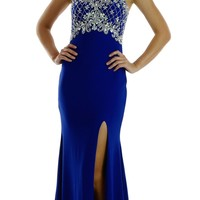 Long Beaded Royal Blue Formal Evening Gown High Neckline