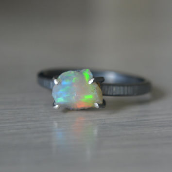 Ethiopian Opal Rough Nugget Ring on Sterling Size 7 3/4
