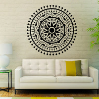 Flower Wall Decals Mandala Om Yoga Indian Pattern Oum Sign Living Room Interior Vinyl Decal Sticker Art Mural Bedroom Kids Room Decor MR380