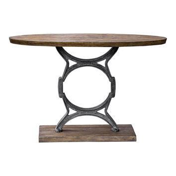 Wynn Industrial Console Table Heavy Cast Iron Base Finished In An Aged Steel