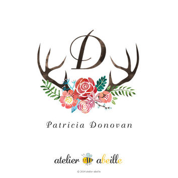 Premade watercolor logo design premade deer logo Etsy shop logo floral logo websites logo blog logo woodland logo antler logo deer wreath