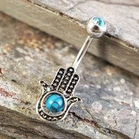 Turquoise Hamsa Hand Belly Button Ring Evil Eye Belly Jewelry