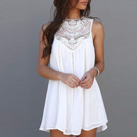 Women Lace Sleeveless Mini Dress