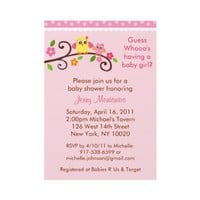 Sweet Owl Baby Girl Baby Shower Invitations from Zazzle.com