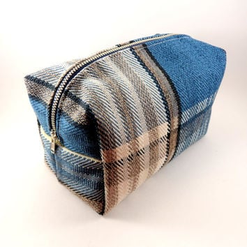 Blue Plaid Blanket Scarf Large Lined Makeup Bag with Metal Zipper, Gadget Case Pencil Case, Zippered, Cosmetics, For Her Under 20