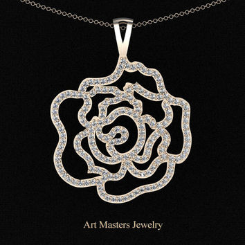 Classic 14K Rose Gold Diamond Rose Promise Pendant and Necklace Chain P101M-14KRGD