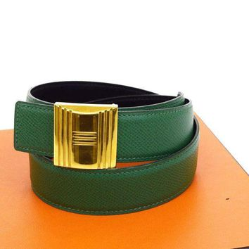 Authentic HERMES Logos Cadena Buckle Belt Leather Green Gold-tone #65 61B824