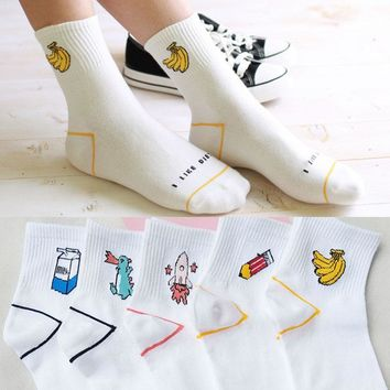 Sale White Cotton Letters Print Socks Lovely Cartoon Dinosaur Milk Banana Girls Casual Female Socks