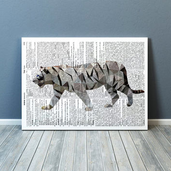 Geometric decor White tiger poster Wall art Animal print TOA83-1