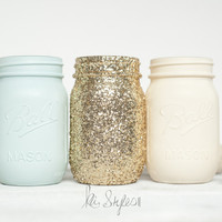 Mint and Gold Glitter Mason Jars - Mason Jars, DIY & Design