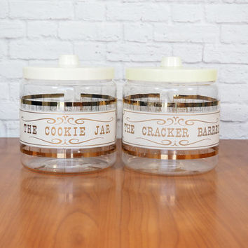 Vintage Pyrex Glass Canister Set / Cookie Jar and Cracker Barrel / Gold and White / Retro Kitchen