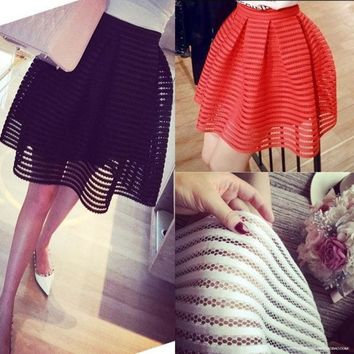 Sexy Skirt Womens High Waist Striped Hollow Out Fluffy Skirts Ladies Maxi Midi Long Tutu Skirt Saias N6 = 1946592964