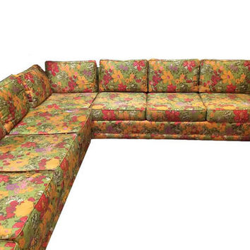 1963 Harvey Probber Extra Large Vintage Sectional with Jack Lenor Larson Floral Fabric