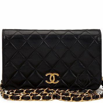 CHANEL VINTAGE WOC BLACK LAMBSKIN QUILTED WALLET ON CHAIN BAG GOLD HARDWARE GHW