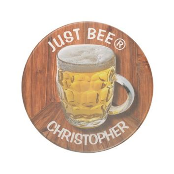 Glass Pint Beer Mug With White Head With Your Text Coaster