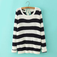 Striped Long-Sleeve Knitted Pullover Shirt