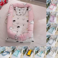 Baby Cartoon Printing Bionic Bed Bumper Portable Baby Nest Bed Multifunctional Travel Bed With Bumper Mattress For Baby Crib