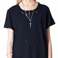 Womens - Tops - Want Some Need Some Oversized Tee With Acid Holes