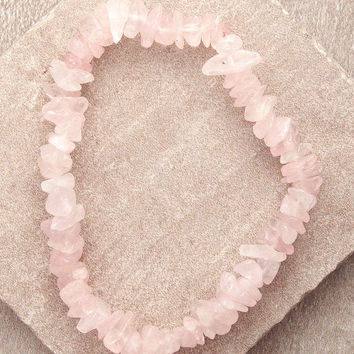 Rose Quartz Gemstone Chip Power Bracelet