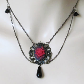 Victorian Necklace Renaissance Jewelry Red Rose Necklace Gothic Jewelry Gothic Necklace Women Jewelry Gift Steampunk Jewelry Cameo Necklace