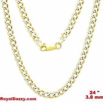 Italy diamond cut 14k white & yellow gold layered over 925 silver 3.8mm Curb 24""