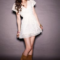 Plunging Neckline Elastic Waist Short Sleeve Mini Lace Dress **FREE SHIPPING**