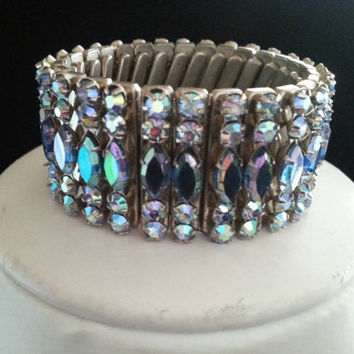 High end blue purple aurora borealis rhinestone bracelet collectible vintage costume jewelry 1950s 1960s