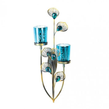 Peacock Plume Wall Sconce Set