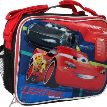 Disney Pixar Cars 3 Boys Canvas Black & Red Insulated Lunch Bag Multiple Signs