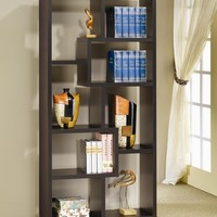 "A.M.B. Furniture & Design :: Office Furniture :: Book Shelfs :: 35"" wide Espresso finish wood book shelf wall unit modern style"